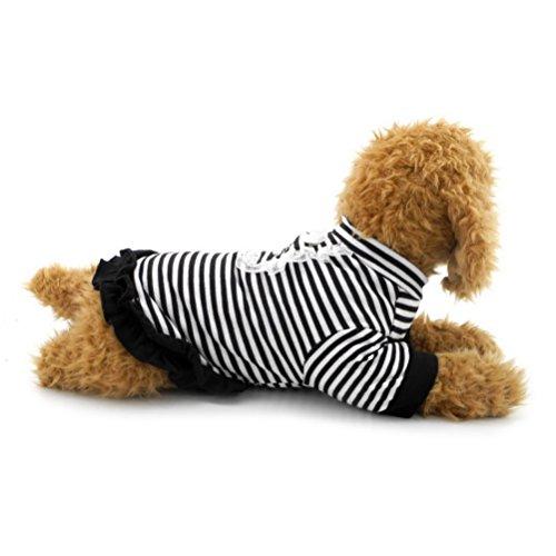 zunea gestreift Sommer Hund Kleid Hemd Rock Sundress Spitze Rüschen Prinzessin Mädchen Hochzeit Kleidung Bekleidung, für kleine Haustiere Hund Puppy Katze (Shirt Denim Pudel Black)