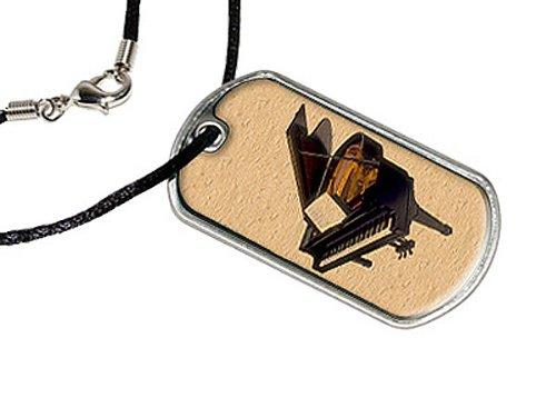 Grand Piano–Militärische Erkennungsmarke schwarz Cord Halskette (Piano Aufkleber Für Schlüssel)
