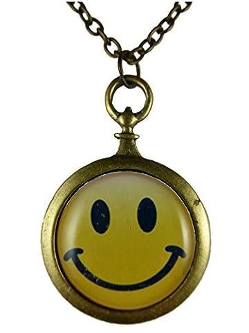 Kette Halskette messingfarben Vintage Taschenuhr Silhouette Smily Smiley gelb 741