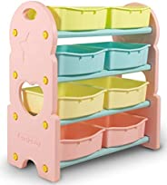 Home Canvas Children Deluxe Multi-Bin Toy Organizer with Storage Bins, Toy Boxes and Storage, Blue, Toy Box St