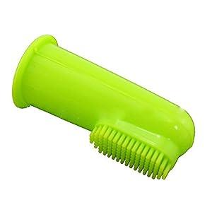 Bébé, femme enceinte, chat chien Doux doigt Brosse à dents Hygiène Dentaire brosses Petite Vert transparent sans Pois (lot de 1)