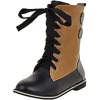 LILICAT☃ Botas de Costura con Cordones Europeas y Americanas Zapatos Vintage Retro Botas de Tubo Medio para Mujer Hebilla Botines de Tobillo Botas Martin de Combate