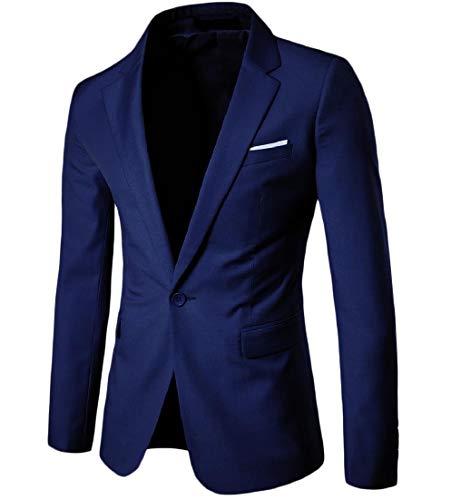 Andopa Herren single button solid color kerbe revers blazer anzug mantel-jacke XL Marineblau - Kerbe Revers Single