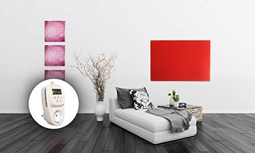 HoWaTech Infrarot Glasheizkörper 60x80cm 600W Heizpaneel mit Steckdosenthermostat Bild 2*