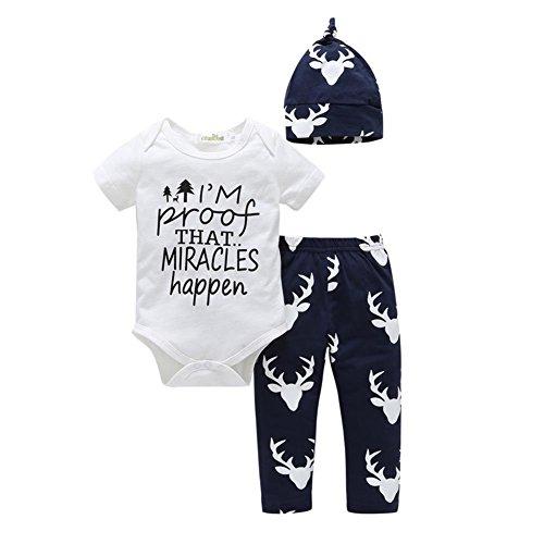 Wongfon 3Pcs NeugebGoldene Baby Strampler Bodys und Hosen mit Hut Outfit Kleidung (Ideen Für Alt 9 Halloween Kostüm Monate)
