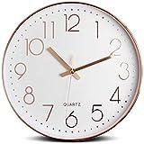 Tebery - Reloj de Pared Redondo (30 cm, Grande, sin Ruido, para salón, Oficina y cafetería, Oro Rosa)