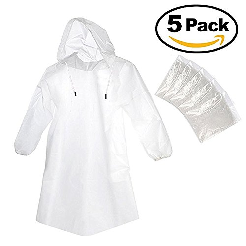 Foxnovo 5pcs Portable Emergency Waterproof Disposable Raincoats with Hat Cap for Outdoor Travel (Clear)