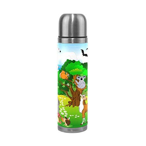 TIZORAX Tiere in Grün Forest doppelwandige Vakuum Cup Isolierte Edelstahl-Flasche Travel Becher Thermos Kaffee Tasse 17oz -