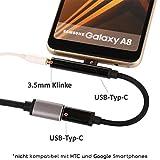 TheSmartGuard - 2in1 Lade-Adapter / USB-C auf USB-C Ladekabel und Klinke / Aux Kabel / Lautsprecherkabel / Kopfhörerkabel Female Moto Z Serie / Z Force, Huawei Mate 10 Pro, Xiaomi Mi 6 / Mix 2 / Note 3 und viele mehr mit USB-Typ-C Anschluss (-Wichtig!!- nicht kompatibel mit HTC und Google Pixel Modelle) | Farbe: Schwarz | Länge: 10 cm / 0,10 Meter