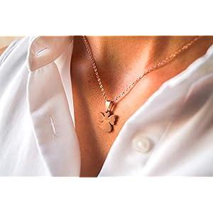 Damen Kette in Rosegold – Filigrane Halskette für Frauen mit Schutzengel Anhänger – Made by Nami Handmade Schmuck – Geschenk zum Geburtstag (Roségold Engel)