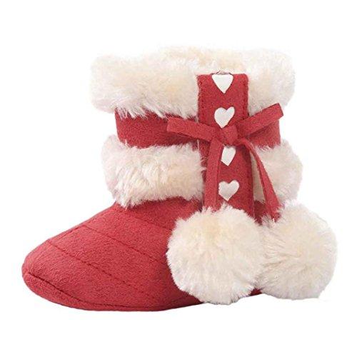 FNKDOR Babystiefel Soft Sole Schnee Stiefel Soft Kleinkind Schuhe(00-06 Monate,Rot)