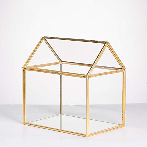 MINGZE Geometrisches Terrarium, Haus-Form, Glas, schließbar, Gewächshäuschen für Sukkulenten/Moos/Farn, mit Klappdeckel (Gold)