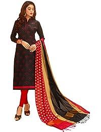 Women'S Black Semi Stitched Embroidered Glaze Cotton Dress Material