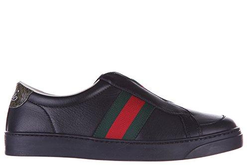 Gucci scarpe sneakers bambino pelle nuove nero EU 31 324478BOQ801073