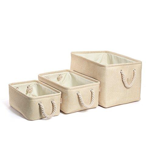 COSYLAND 3er Stück Aufbewahrungsbox Set faltbar Wäschekorb Speicher Korb (Beige) aus Leinen für Kleidung, Bücher, Spielzeug, Schublade und Schrank -
