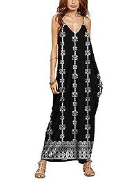 Playa vestido, las mujeres cuello de pico verano Casual Loose tiras en forma de larga Boho Maxidress, Floral impresión de Grandes sin mangas vestido de cóctel Velada Fiesta Vacaciones de playa, 10 Color disponibles XL color2