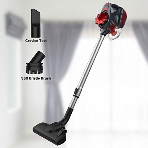 Finether Aspiradora de Mano Limpiador Escoba Vertical Multifuncional Mopa con Cable con 5 accesorios y Palo Extensible Rojo y Negro