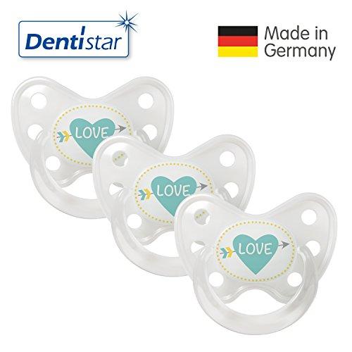 Dentistar® Schnuller 3er Set- Nuckel Silikon in Größe 3, ab 14 Monate - zahnfreundlich & kiefergerecht - Beruhigungssauger für Babys - Perlmutt Herz