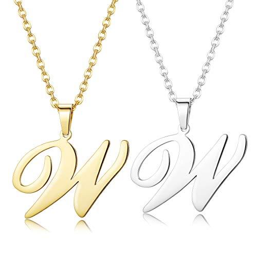 Finrezio Zwei Edelstahl Brief Kette Name Initiale Alphabet Buchstaben A bis Z Anhänger Halskette Für Damen Herren Kette W