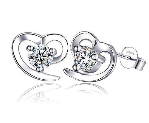 Dorosé Damen Ohrstecker 'Herz' aus 925 Sterling Silber mit Zirkonia, Ohrringe mit (Gefunden Kostüm Kein)