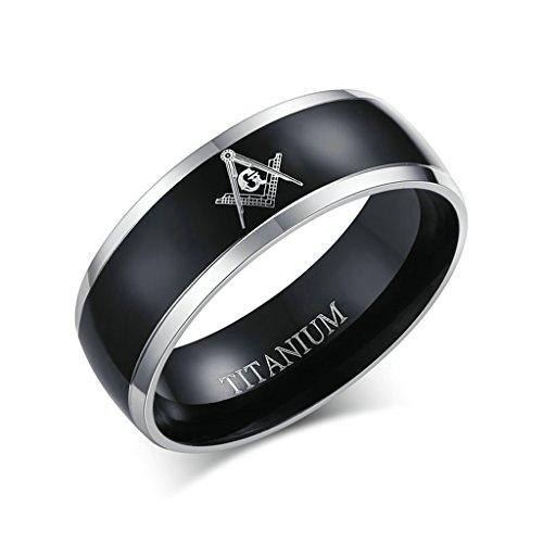 Bishilin 8mm titanio acciaio bicolore argento nero masonic anello uomo incisione per uomo misura 27