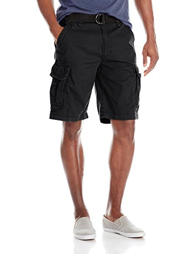 Unionbay Men's Survivor Belted Cargo Short-Reg and Big and Tall Sizes, Black, 44 -