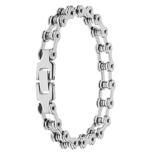 Phenovo Men's 8mm Wide Stainless Steel Motorcycle Biker Chain Bicycle Link Bracelet - silver