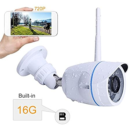 Wireless Camera INKERSCOOP 720P Bullet Waterproof Surveillance System Camera Outdoor WiFi IP Camera, Plug&Play Security Camera with 16G SD