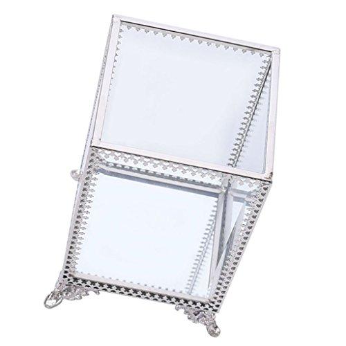 P prettyia scatola stoccaggio in vetro porta oggetti per gioielli regalo per donne ragazze - argento