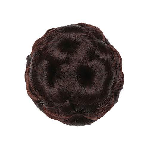 Qinlee Flauschige Haarteil Perücke Haarkrallen Braut Disk Frisuren Gestylten Cosplay Party Halloween Hochzeiten Haarschmuck für Damen Mädchen (Dunkelbraun) (Tanz Scrunchie)