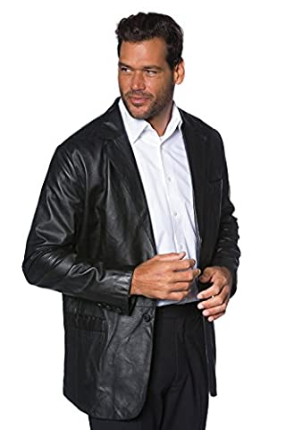 JP 1880 Herren große Größen bis 7XL   Lederjacke schwarz   Leder-Blazer aus Lamm-Nappaleder   Reverskragen, zwei Knöpfen & V-Ausschnitt   schwarz 4XL 691515