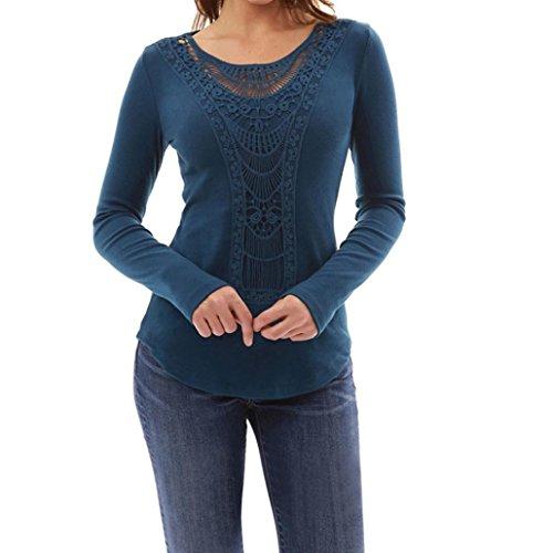 DAY8 Femme Vetement Sport t Shirt Ete Blouse Femme Chic Soiree Haut Femme Grande Taille Printemps Vetement Femme Pas Cher Fashion Chemise Femme Mode Slim Top Fille Dentelle Manche Longue Bleu
