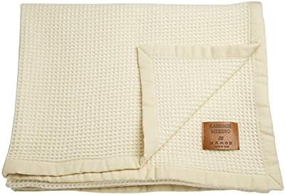Manta extrafina para cuna, estilo nido de abeja, de cachemira y lana merina