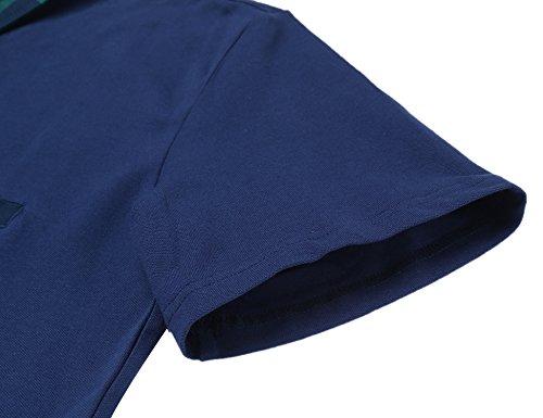 Coofandy Herren Poloshirt T-Shirt Männer Oberteile Haikragen Kontrastiert Basis Klassisch Sommerlich Poloshirts Blau