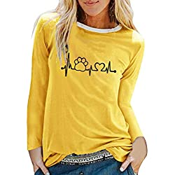 FRAUIT Camiseta de Manga Larga para Mujer, Camiseta Estampada Camiseta Casual con Cuello Redondo Tops Deportivos Mujer Camisetas Básico Mujer Sudaderas - Adecuado para Primavera, Otoño e Invierno
