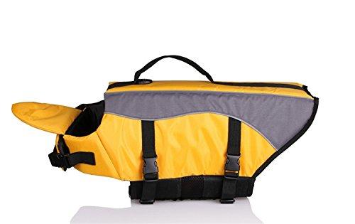 Tineer Hund Schwimmweste Weste Lebensretter Sicherheit Badeanzug Reflektierende Weste Pet Floatation Life Preserver Schwimmen (XS, Gelb) -