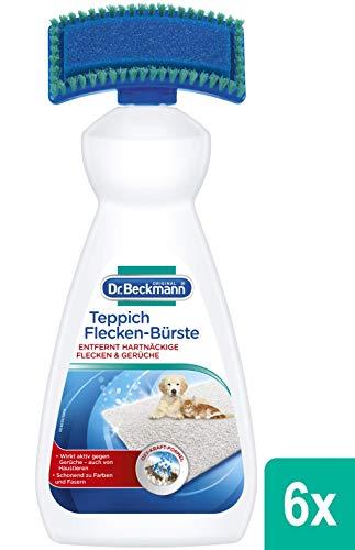 Dr. Beckmann Teppich Flecken-Bürste  (6x 650 ml) | Teppichreiniger zur Entfernung selbst hartnäckiger Flecken und Gerüche  | inkl. Bürstenapplikator (Bio-getreide Alkohol)
