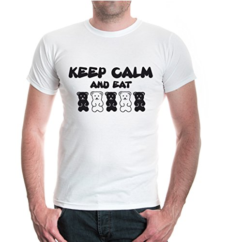 buXsbaum® T-Shirt Keep calm and eat bears White-Black