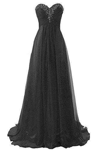 Abendkleider Ballkleider Lang Chiffon Brautjungfernkleid A Linie Damen Festkleid Schwarz EUR54