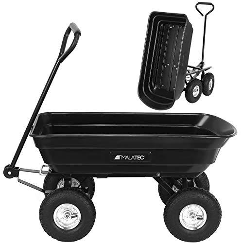 MT MALATEC Gartenwagen mit Kippfunktion Kippwagen mit Luftreifen Transportwagen bis 350kg für Garten Baustelle usw 9043