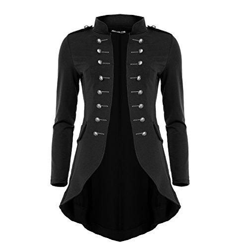 Mayaadi 6066 Damen Jacke Blazer Admiral Uniform Mantel mit Military Knopfleiste Vokuhila Schwarz-M