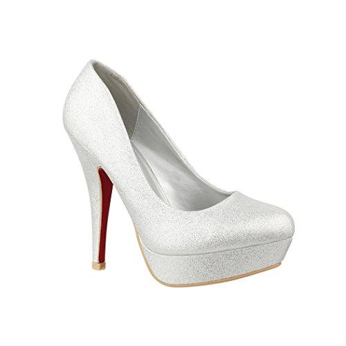 Elara Plateaupumps | Damen Glitzer Stiletto High Heels | Party Pumps 16-91 Silver-37