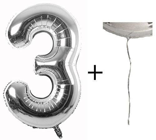 Metallic XXL 86cm + GRATIS Ballonschnur / HELIUM-/LUFTSPAREND - Folienballon perfekt für Geburtstage Jubiläum Birthday Party Dekoration (3 Ballon)
