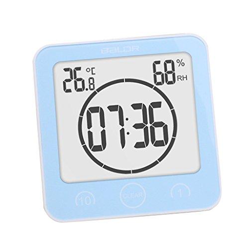 Homyl Digital LCD Badezimmer Duschuhr Saugnapf Uhr mit Thermo-/Hygrometer - Blau