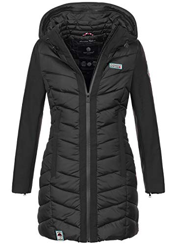 Navahoo Damen Wintermantel Mantel Steppmantel warm Winter Jacke lang Stepp B674 [B674-Fluss-Schwarz-Gr.M]