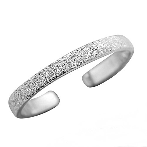 FIVE-D Ring Zehenring Grösse einstellbar sandgestrahlt aus 925 Sterling Silber im Schmucketui (Silber - 2,5 mm)