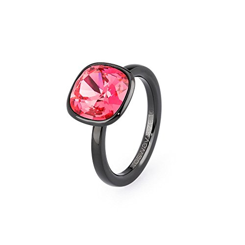 Brosway anello donna in acciaio/pvd nero con cristallo rosso, linea tring color edition, taglia 18, 5 grammi
