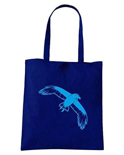 T-Shirtshock - Borsa Shopping FUN1106 crow crows animal animals vinyl decal sticker 02 39925 Blu Navy