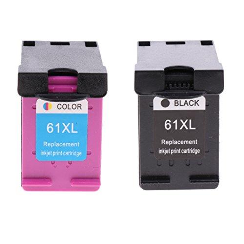 Kit Tine (Homyl 2x ABS Tinten Patrone Kit 61 XL Ersatz Druckerpatrone Tine für HP Deskjet 3000-J310a / c, 3050-J610a / b / c / d / e / f -Schwarz + Bunt)