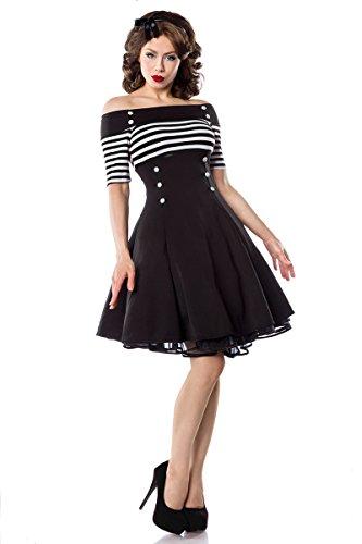 Schulterfreies Vintage-Kleid mit dekorativen Knöpfen und kurzen Ärmeln (Schwarz/Weiß/Stripe, Gr. M) - 3